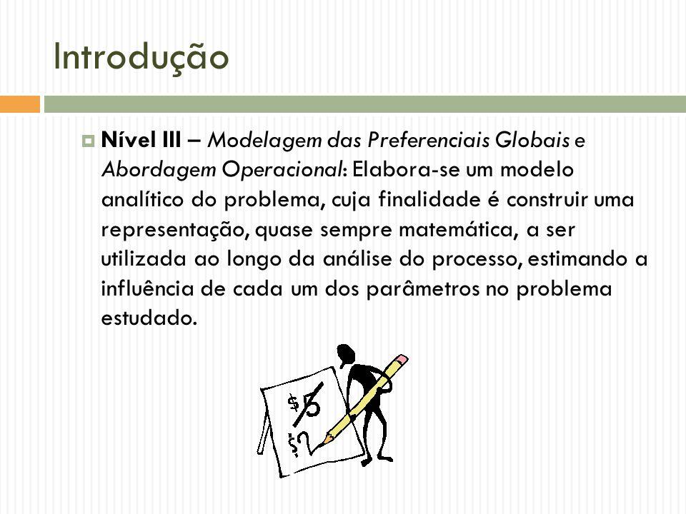 Introdução Nível III – Modelagem das Preferenciais Globais e Abordagem Operacional: Elabora-se um modelo analítico do problema, cuja finalidade é cons