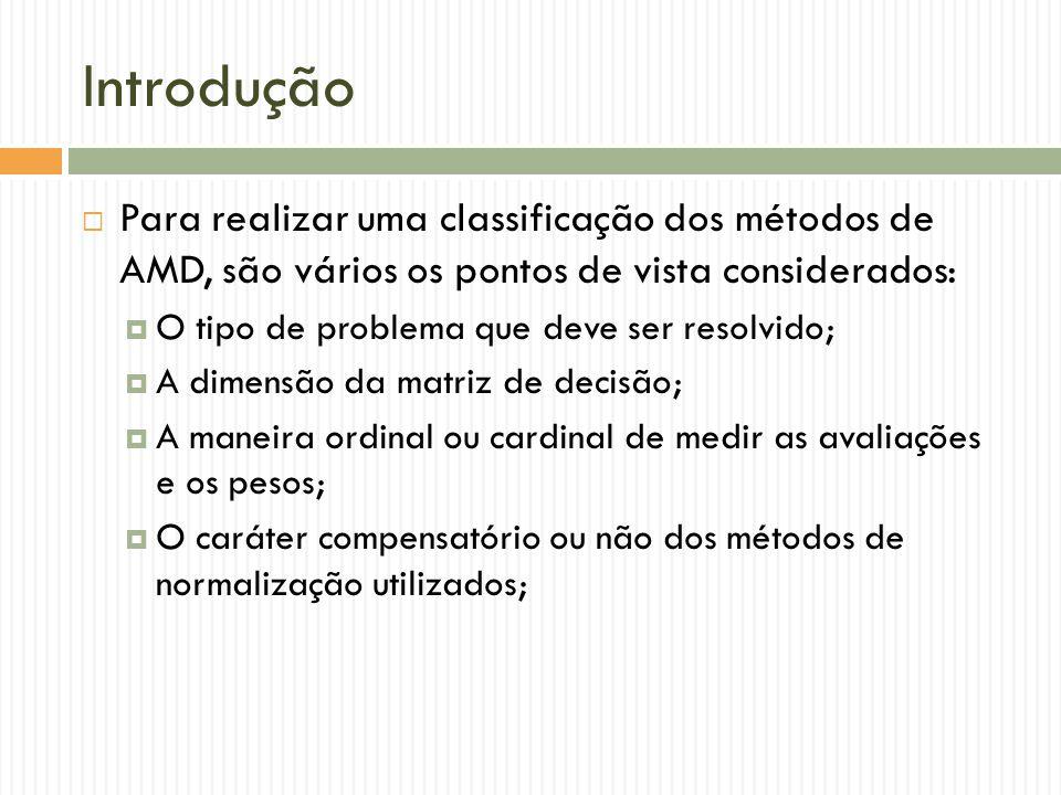 Introdução Para realizar uma classificação dos métodos de AMD, são vários os pontos de vista considerados: O tipo de problema que deve ser resolvido;