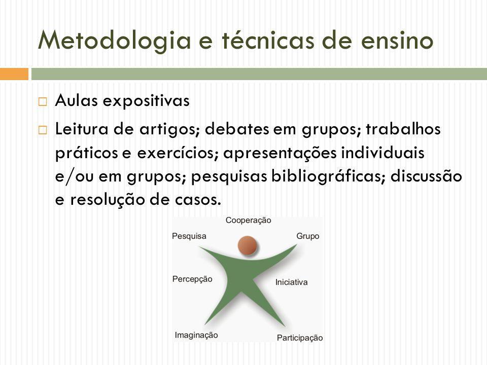 Metodologia e técnicas de ensino Aulas expositivas Leitura de artigos; debates em grupos; trabalhos práticos e exercícios; apresentações individuais e