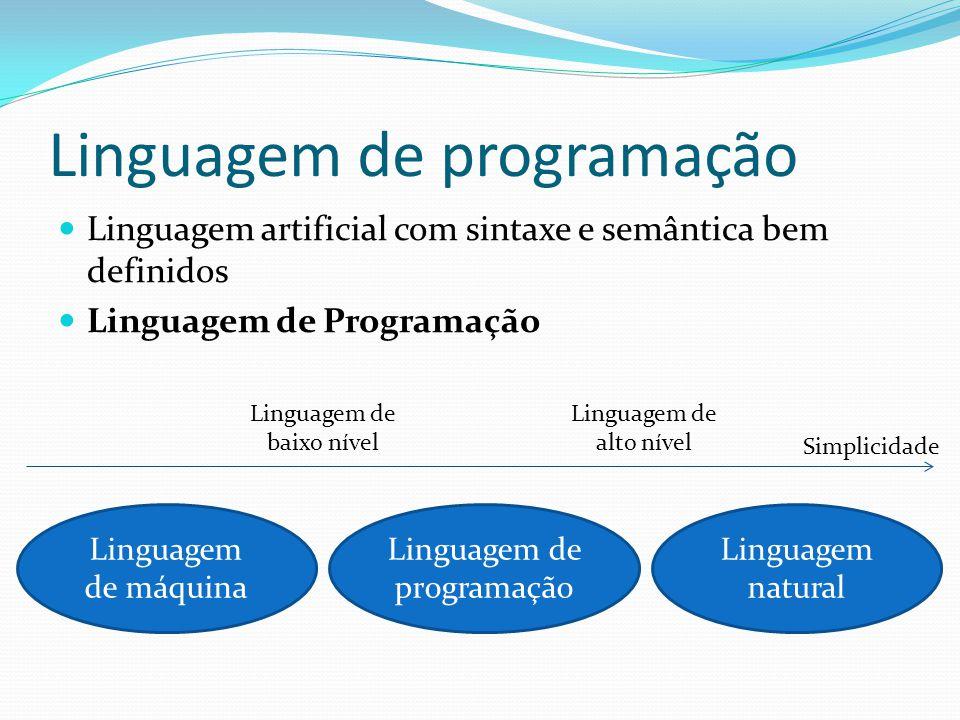 Linguagem de programação Linguagem artificial com sintaxe e semântica bem definidos Linguagem de Programação Linguagem de máquina Linguagem natural Linguagem de programação Simplicidade Linguagem de alto nível Linguagem de baixo nível