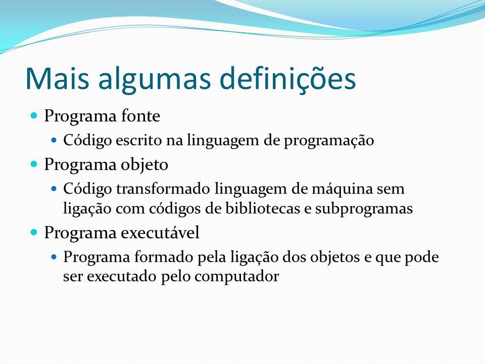 Mais algumas definições Programa fonte Código escrito na linguagem de programação Programa objeto Código transformado linguagem de máquina sem ligação com códigos de bibliotecas e subprogramas Programa executável Programa formado pela ligação dos objetos e que pode ser executado pelo computador