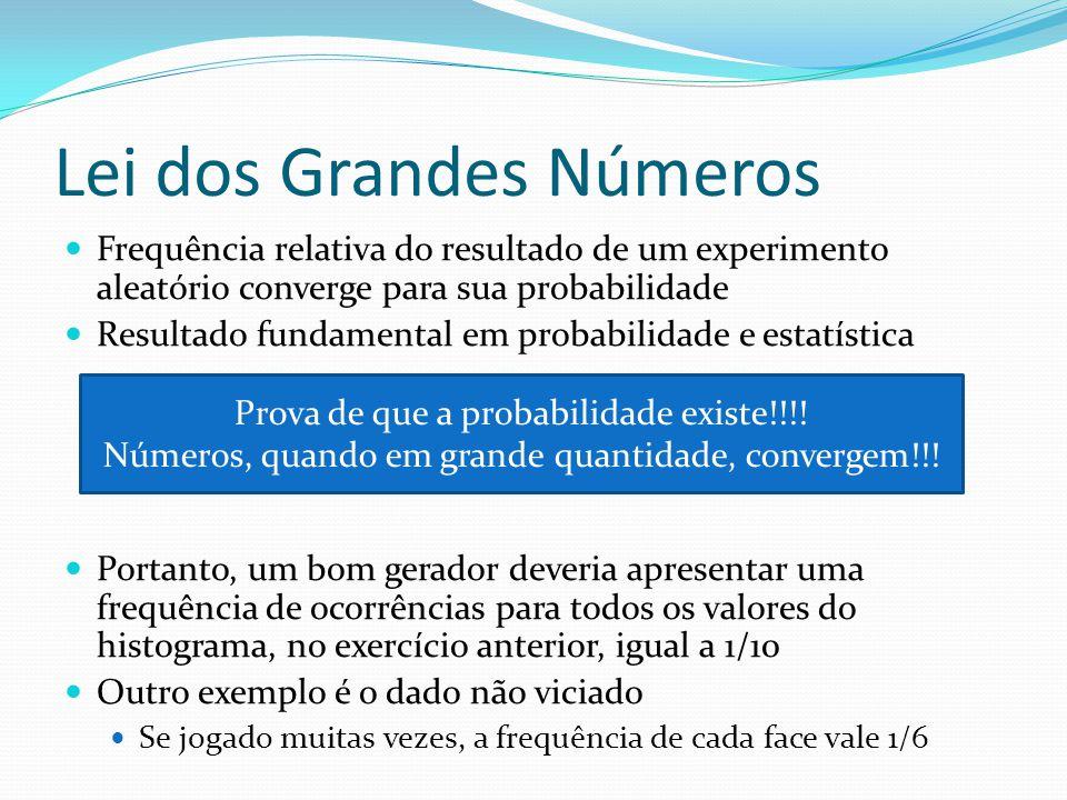 Lei dos Grandes Números Frequência relativa do resultado de um experimento aleatório converge para sua probabilidade Resultado fundamental em probabil