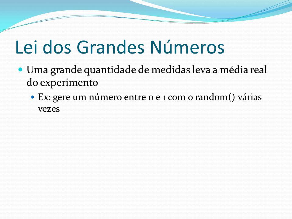 Lei dos Grandes Números Uma grande quantidade de medidas leva a média real do experimento Ex: gere um número entre 0 e 1 com o random() várias vezes