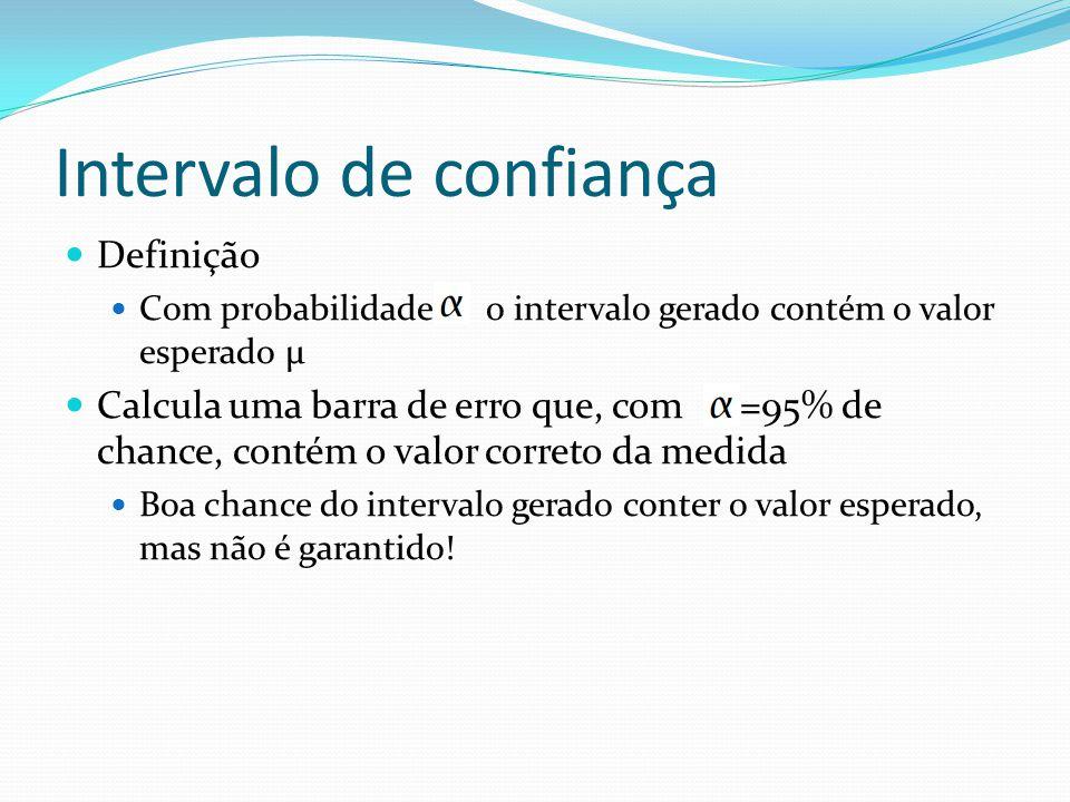 Intervalo de confiança Definição Com probabilidade o intervalo gerado contém o valor esperado μ Calcula uma barra de erro que, com =95% de chance, con