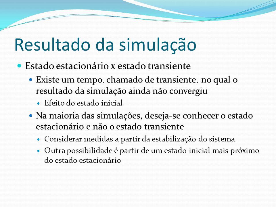 Resultado da simulação Estado estacionário x estado transiente Existe um tempo, chamado de transiente, no qual o resultado da simulação ainda não conv