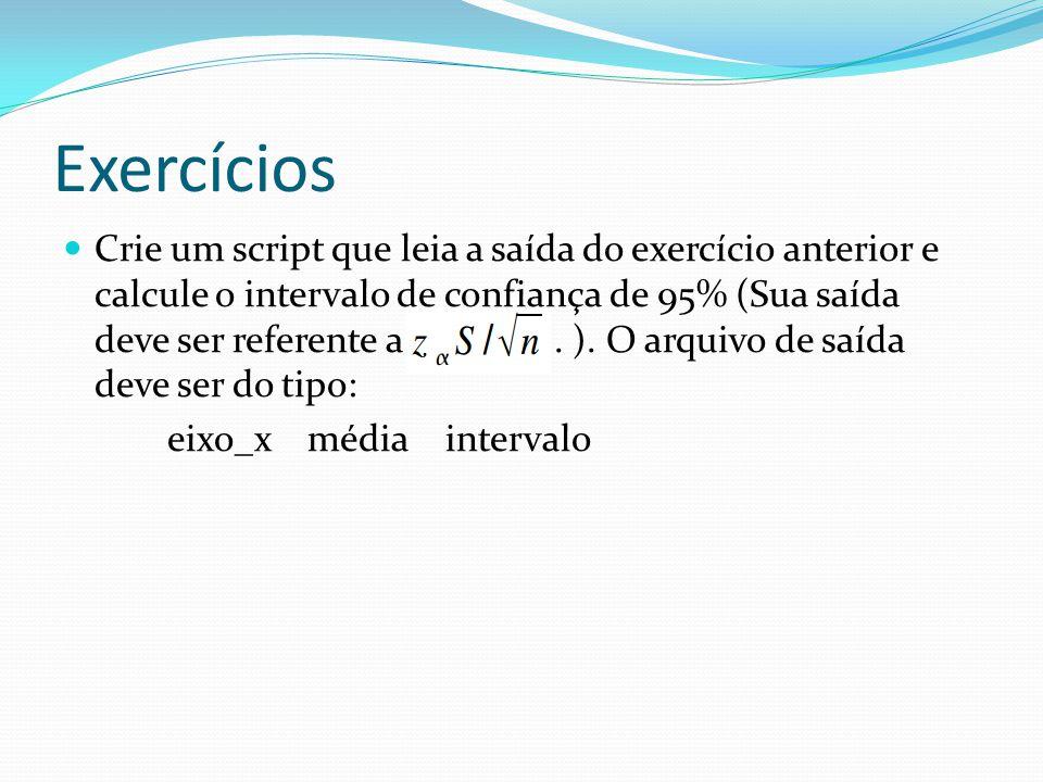 Exercícios Crie um script que leia a saída do exercício anterior e calcule o intervalo de confiança de 95% (Sua saída deve ser referente a. ). O arqui