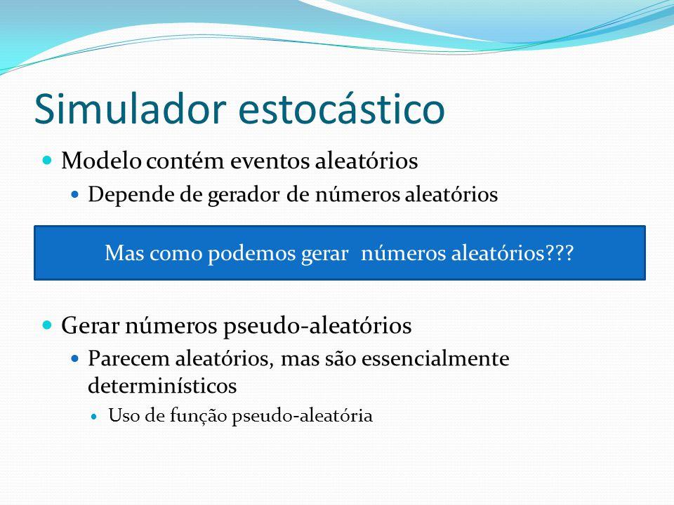 Simulador estocástico Modelo contém eventos aleatórios Depende de gerador de números aleatórios Gerar números pseudo-aleatórios Parecem aleatórios, mas são essencialmente determinísticos Uso de função pseudo-aleatória Mas como podemos gerar números aleatórios???