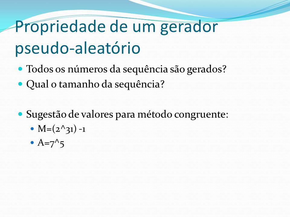 Propriedade de um gerador pseudo-aleatório Todos os números da sequência são gerados? Qual o tamanho da sequência? Sugestão de valores para método con