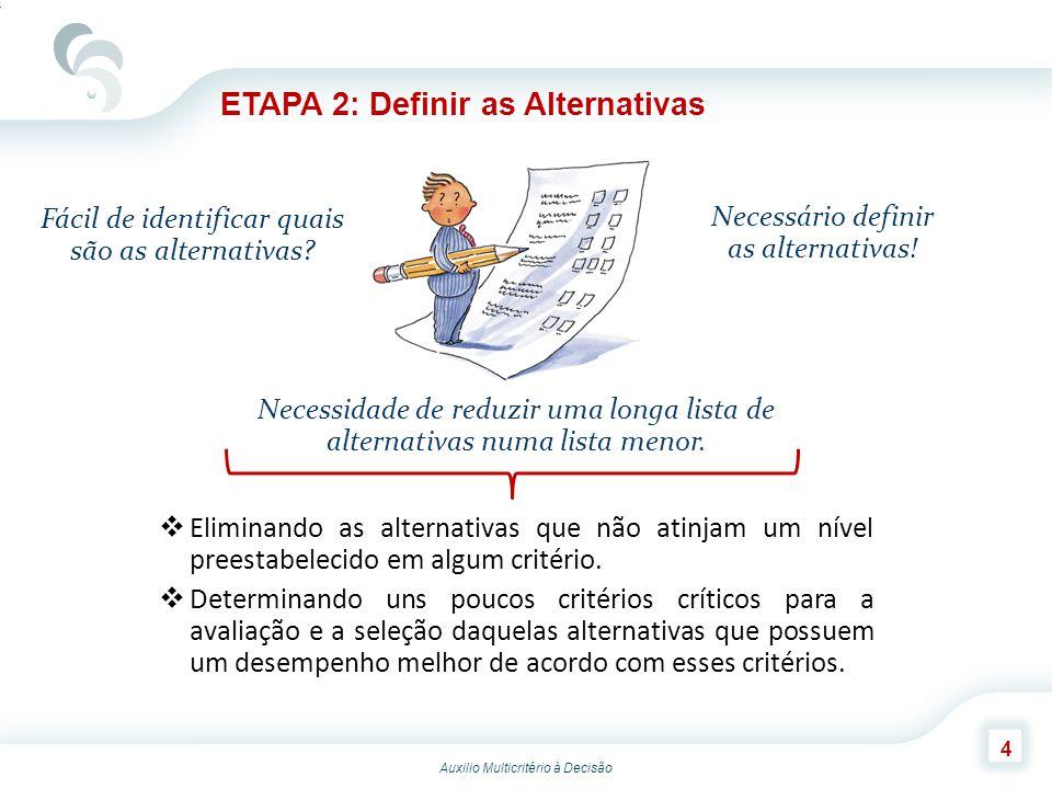 Auxilio Multicritério à Decisão 15 ETAPA 8: Recomendações e Apresentação de um Relatório A análise realizada deve ser considerada junto com as informações relevantes para o processo de tomada de decisões, com o intuito de se fazer uma recomendação final.