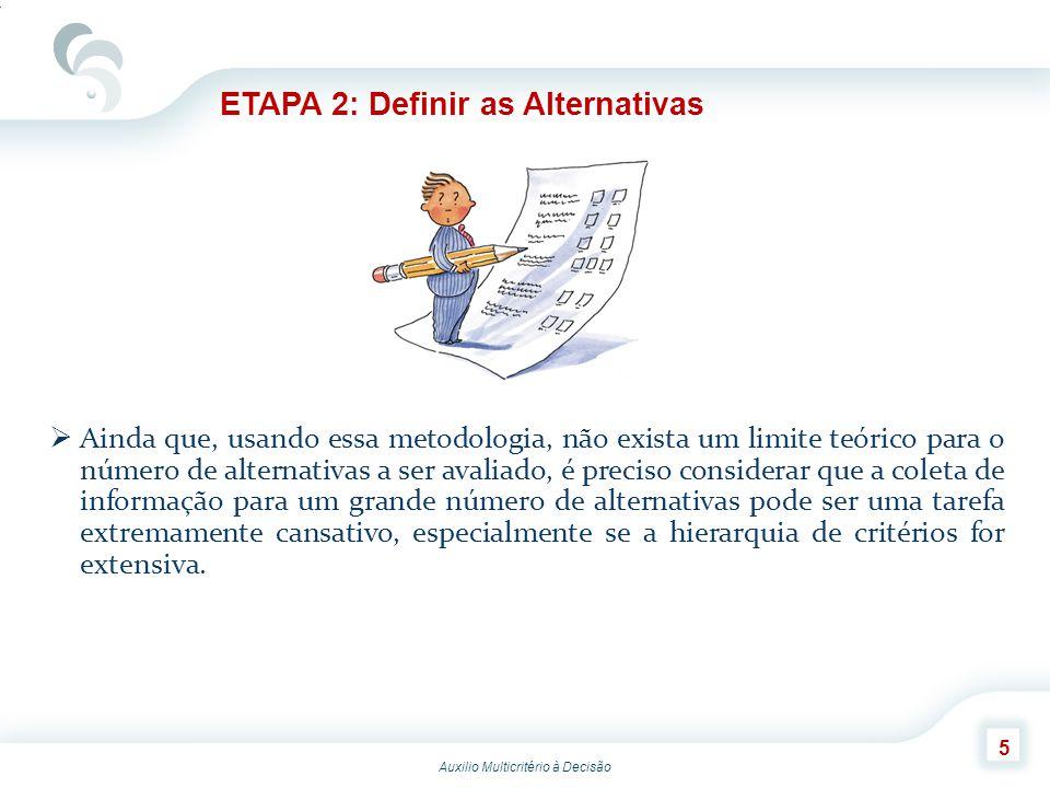 Auxilio Multicritério à Decisão 6 ETAPA 3: Definir os Critérios Relevantes A definição das alternativas e critérios será provavelmente um processo iterativo.