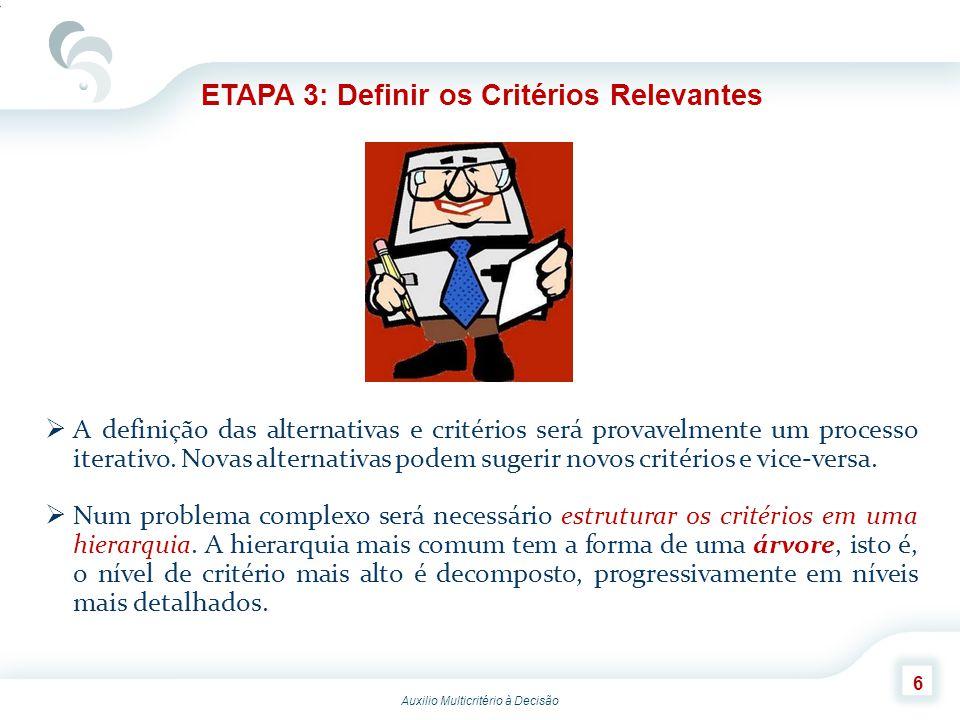 Auxilio Multicritério à Decisão 7 ETAPA 3: Definir os Critérios Relevantes Um critério que possui subcritérios é designado por critério pai, e o conjunto dos subcritérios que compartilha o mesmo pai é denominado família.