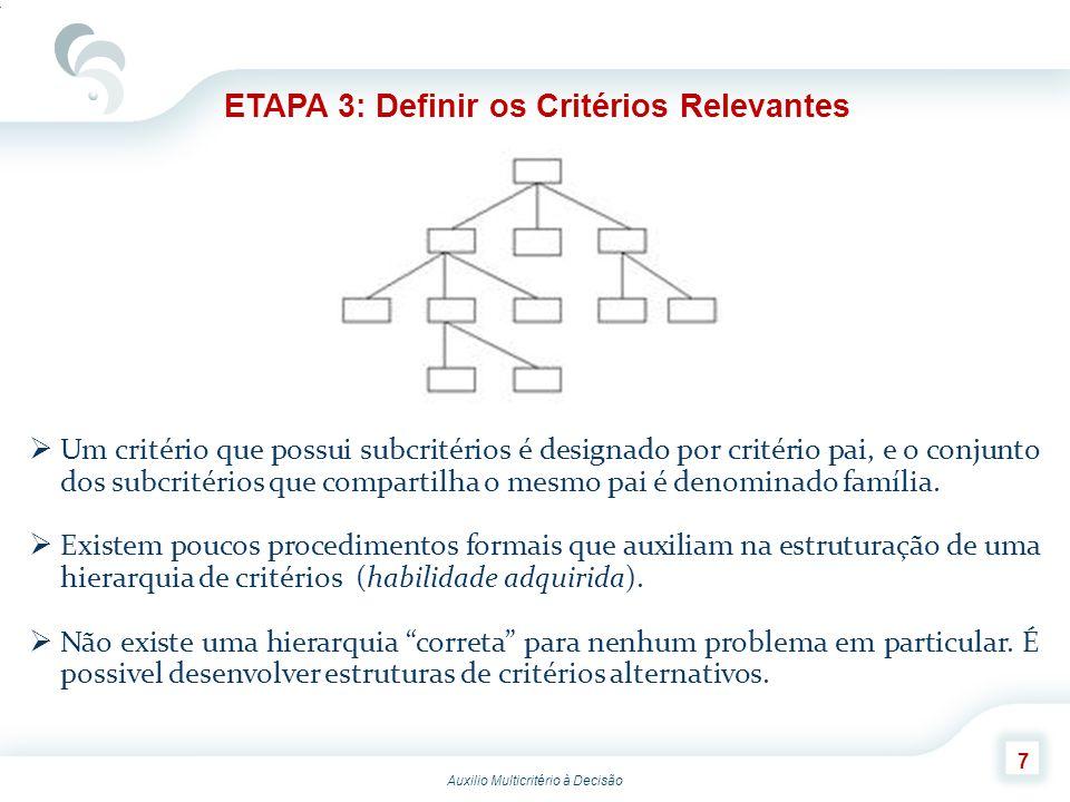 Auxilio Multicritério à Decisão 8 ETAPA 3: Definir os Critérios Relevantes Contudo, após a construção de uma árvore de critérios, pode-se julgar se essa representação é útil para o decisor utilizando-se cinco fatores: Completude: Se a árvore está completa, todos os critérios que interessam estarão incluídos nela.