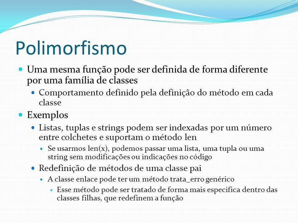 Polimorfismo Uma mesma função pode ser definida de forma diferente por uma família de classes Comportamento definido pela definição do método em cada