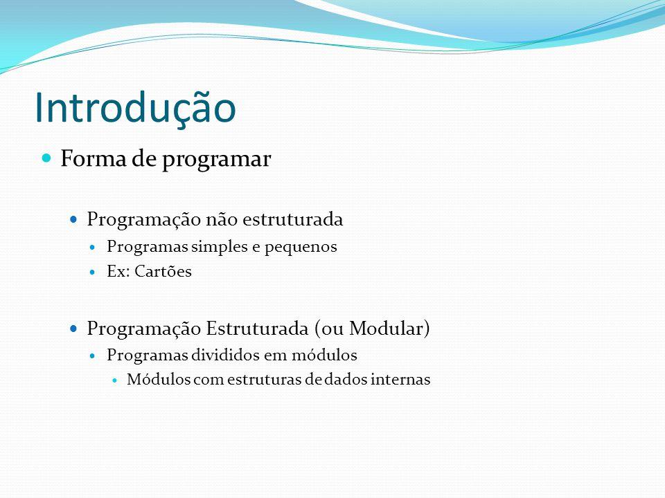 Introdução Forma de programar Programação não estruturada Programas simples e pequenos Ex: Cartões Programação Estruturada (ou Modular) Programas divi