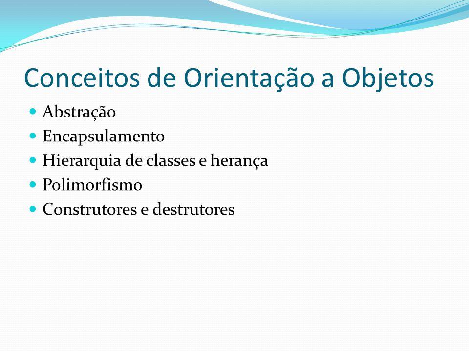 Conceitos de Orientação a Objetos Abstração Encapsulamento Hierarquia de classes e herança Polimorfismo Construtores e destrutores