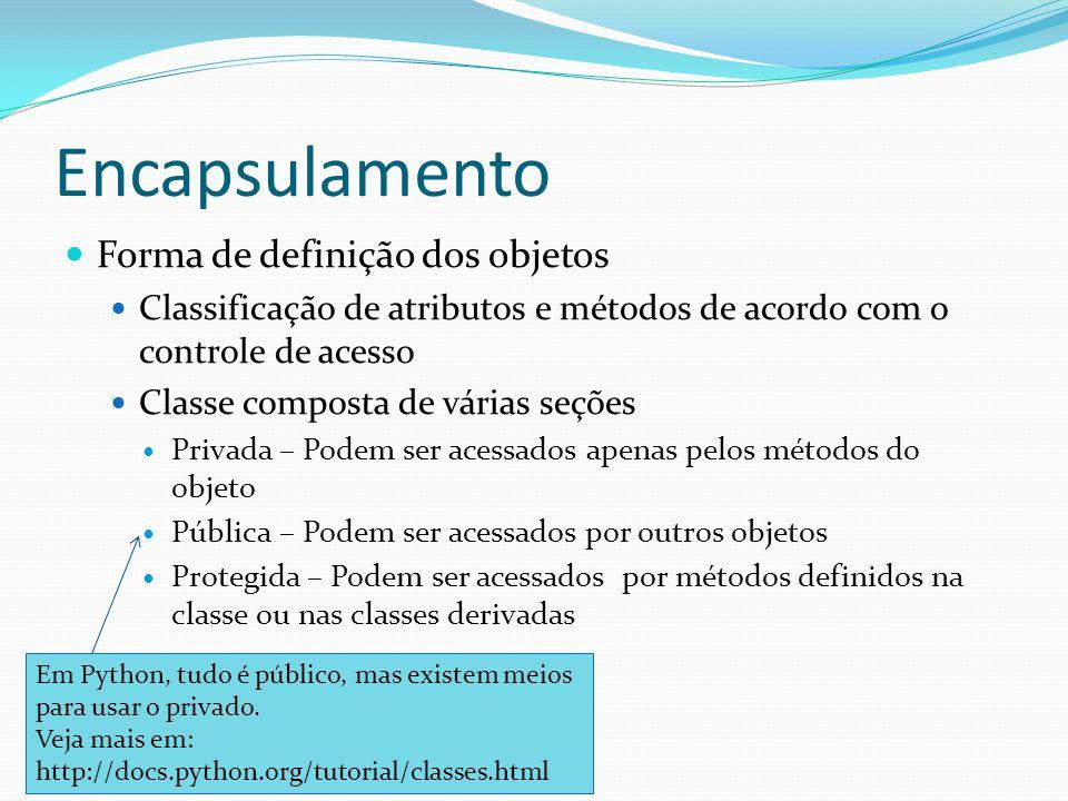 Encapsulamento Forma de definição dos objetos Classificação de atributos e métodos de acordo com o controle de acesso Classe composta de várias seções