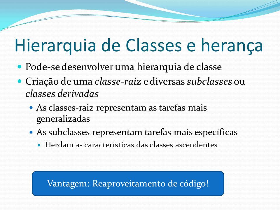 Hierarquia de Classes e herança Pode-se desenvolver uma hierarquia de classe Criação de uma classe-raiz e diversas subclasses ou classes derivadas As