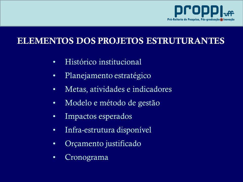 ELEMENTOS DOS PROJETOS ESTRUTURANTES Histórico institucional Planejamento estratégico Metas, atividades e indicadores Modelo e método de gestão Impact