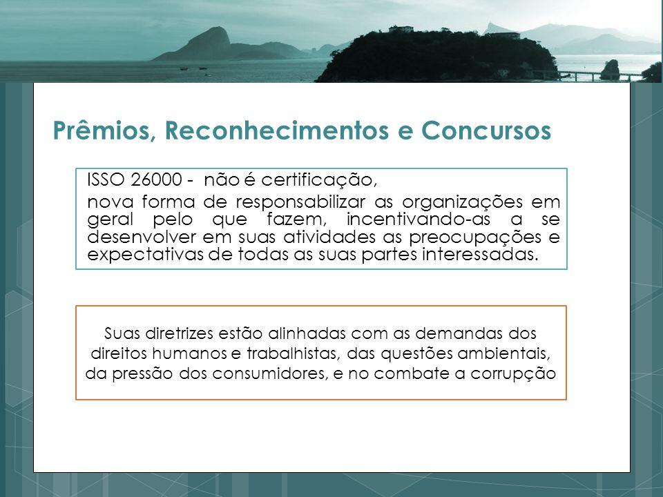 Prêmios, Reconhecimentos e Concursos ISSO 26000 - não é certificação, nova forma de responsabilizar as organizações em geral pelo que fazem, incentivando-as a se desenvolver em suas atividades as preocupações e expectativas de todas as suas partes interessadas.