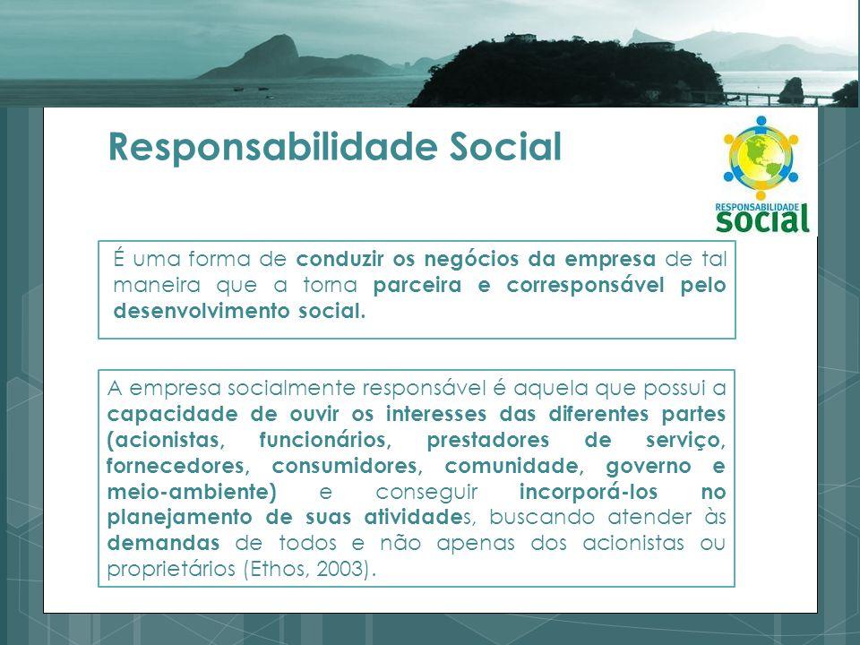 Responsabilidade Social É uma forma de conduzir os negócios da empresa de tal maneira que a torna parceira e corresponsável pelo desenvolvimento social.
