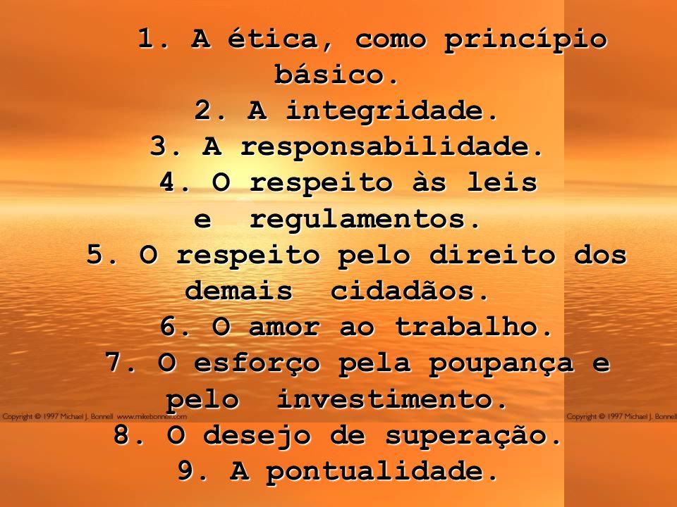 1. A ética, como princípio básico. 2. A integridade. 3. A responsabilidade. 4. O respeito às leis e regulamentos. 5. O respeito pelo direito dos demai