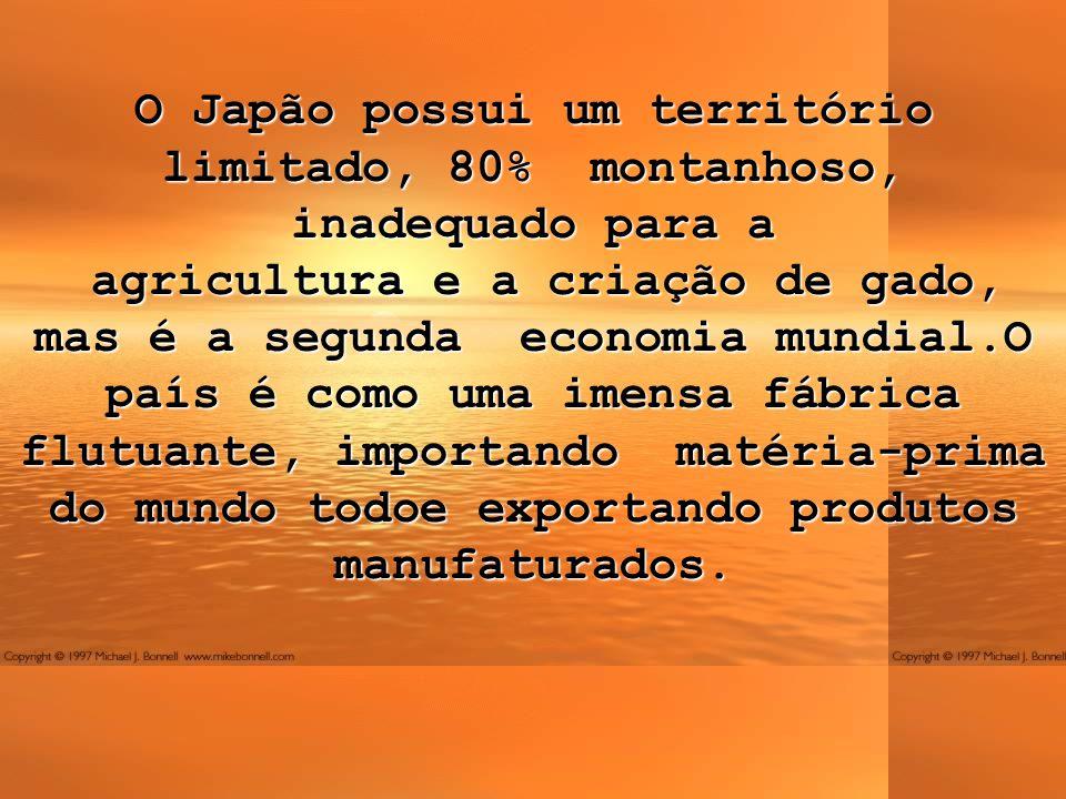 O Japão possui um território limitado, 80% montanhoso, inadequado para a agricultura e a criação de gado, mas é a segunda economia mundial.O país é como uma imensa fábrica flutuante, importando matéria-prima do mundo todoe exportando produtos manufaturados.
