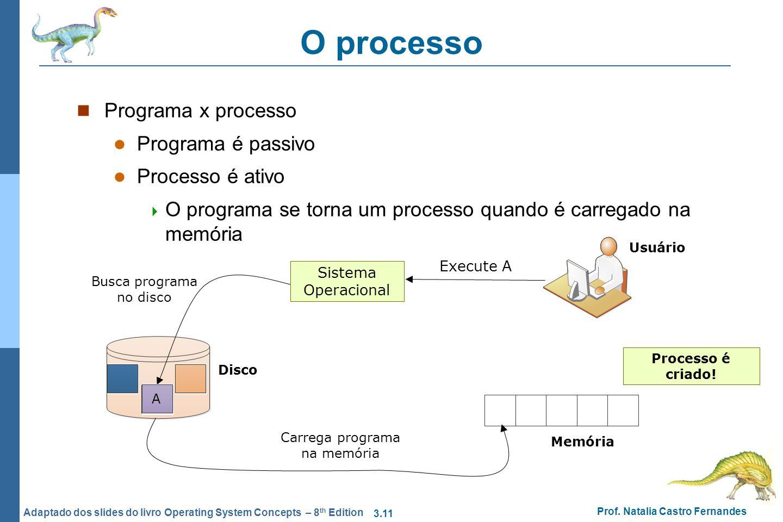 3.11 Prof. Natalia Castro Fernandes Adaptado dos slides do livro Operating System Concepts – 8 th Edition O processo Programa x processo Programa é pa