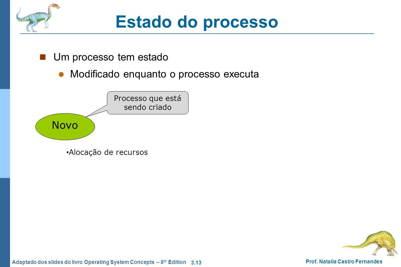 3.13 Prof. Natalia Castro Fernandes Adaptado dos slides do livro Operating System Concepts – 8 th Edition Estado do processo Um processo tem estado Mo