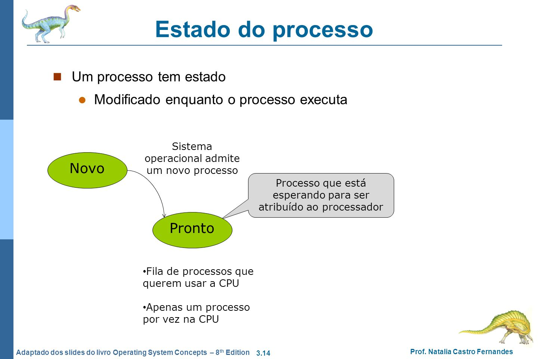 3.14 Prof. Natalia Castro Fernandes Adaptado dos slides do livro Operating System Concepts – 8 th Edition Estado do processo Um processo tem estado Mo