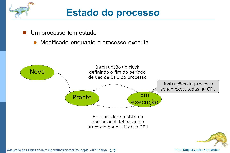 3.15 Prof. Natalia Castro Fernandes Adaptado dos slides do livro Operating System Concepts – 8 th Edition Estado do processo Um processo tem estado Mo