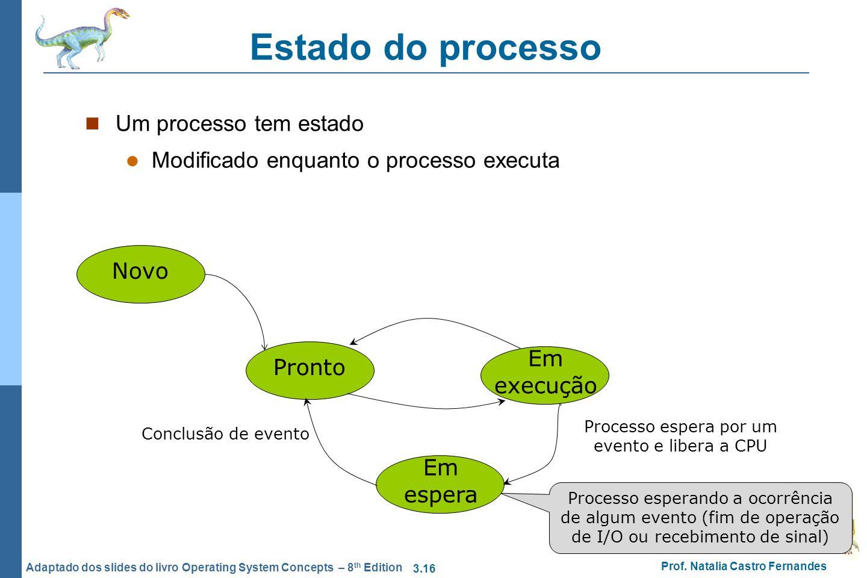 3.16 Prof. Natalia Castro Fernandes Adaptado dos slides do livro Operating System Concepts – 8 th Edition Estado do processo Um processo tem estado Mo