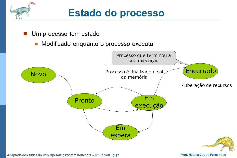 3.17 Prof. Natalia Castro Fernandes Adaptado dos slides do livro Operating System Concepts – 8 th Edition Estado do processo Um processo tem estado Mo