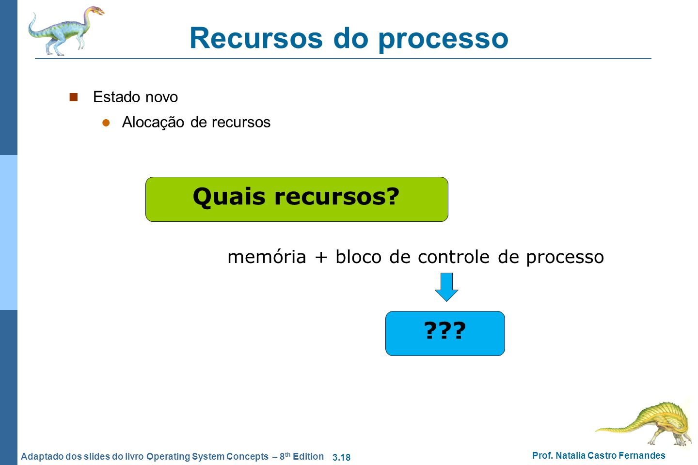 3.18 Prof. Natalia Castro Fernandes Adaptado dos slides do livro Operating System Concepts – 8 th Edition Recursos do processo Estado novo Alocação de