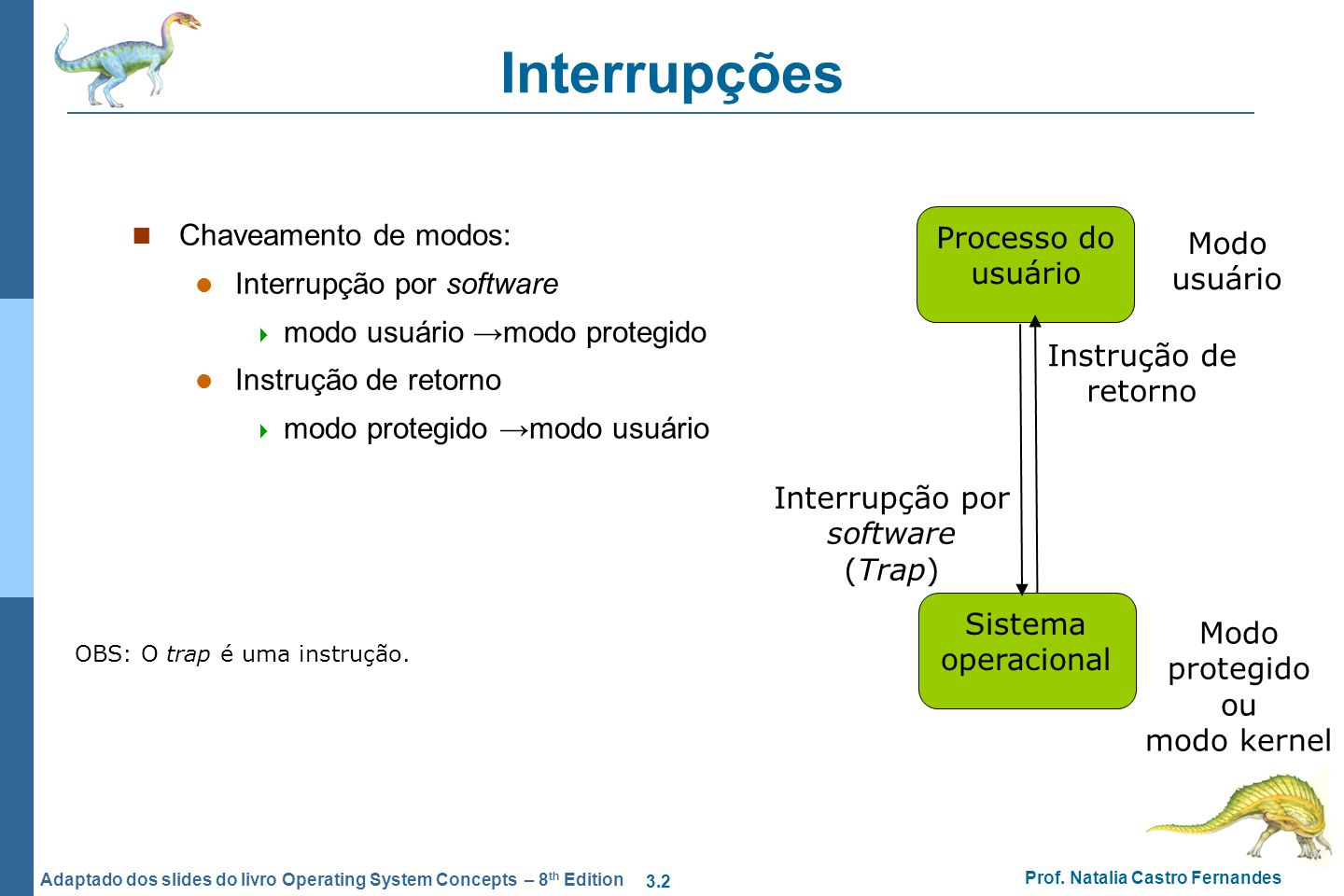 3.2 Prof. Natalia Castro Fernandes Adaptado dos slides do livro Operating System Concepts – 8 th Edition Interrupções Chaveamento de modos: Interrupçã