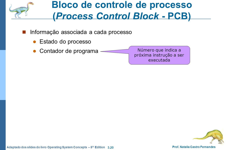 3.20 Prof. Natalia Castro Fernandes Adaptado dos slides do livro Operating System Concepts – 8 th Edition Bloco de controle de processo (Process Contr