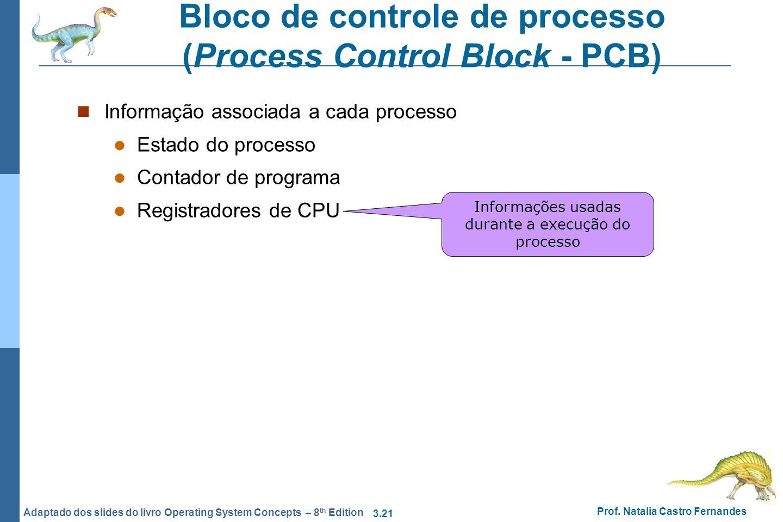 3.21 Prof. Natalia Castro Fernandes Adaptado dos slides do livro Operating System Concepts – 8 th Edition Bloco de controle de processo (Process Contr