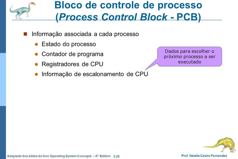 3.22 Prof. Natalia Castro Fernandes Adaptado dos slides do livro Operating System Concepts – 8 th Edition Bloco de controle de processo (Process Contr