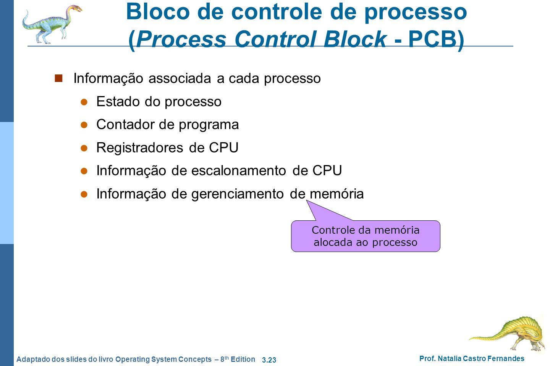 3.23 Prof. Natalia Castro Fernandes Adaptado dos slides do livro Operating System Concepts – 8 th Edition Bloco de controle de processo (Process Contr