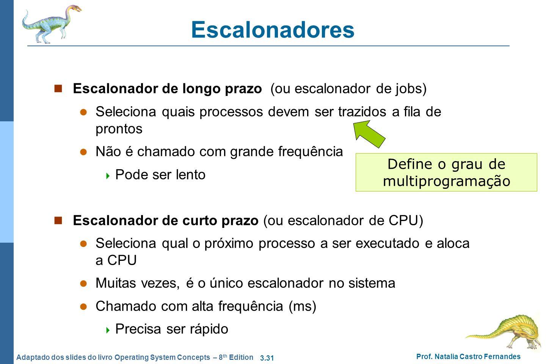 3.31 Prof. Natalia Castro Fernandes Adaptado dos slides do livro Operating System Concepts – 8 th Edition Escalonadores Escalonador de longo prazo (ou