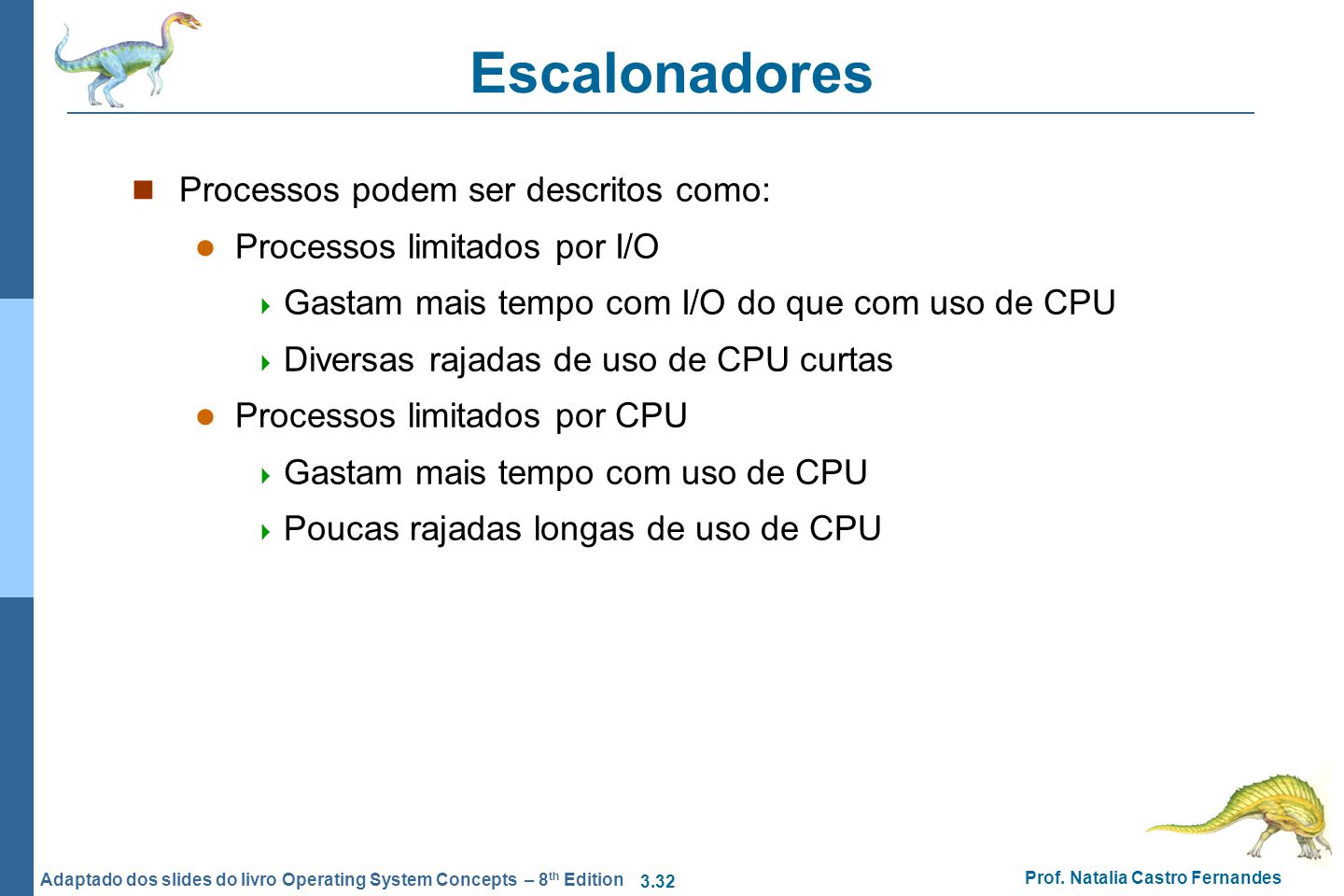 3.32 Prof. Natalia Castro Fernandes Adaptado dos slides do livro Operating System Concepts – 8 th Edition Escalonadores Processos podem ser descritos
