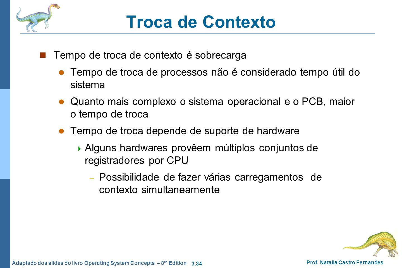 3.34 Prof. Natalia Castro Fernandes Adaptado dos slides do livro Operating System Concepts – 8 th Edition Troca de Contexto Tempo de troca de contexto