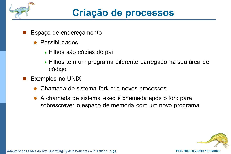 3.36 Prof. Natalia Castro Fernandes Adaptado dos slides do livro Operating System Concepts – 8 th Edition Criação de processos Espaço de endereçamento