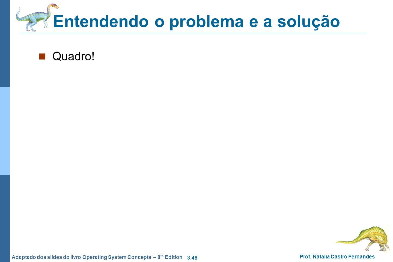 3.48 Prof. Natalia Castro Fernandes Adaptado dos slides do livro Operating System Concepts – 8 th Edition Entendendo o problema e a solução Quadro!