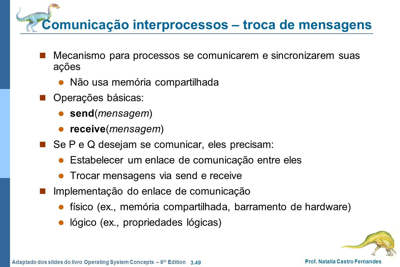 3.49 Prof. Natalia Castro Fernandes Adaptado dos slides do livro Operating System Concepts – 8 th Edition Comunicação interprocessos – troca de mensag