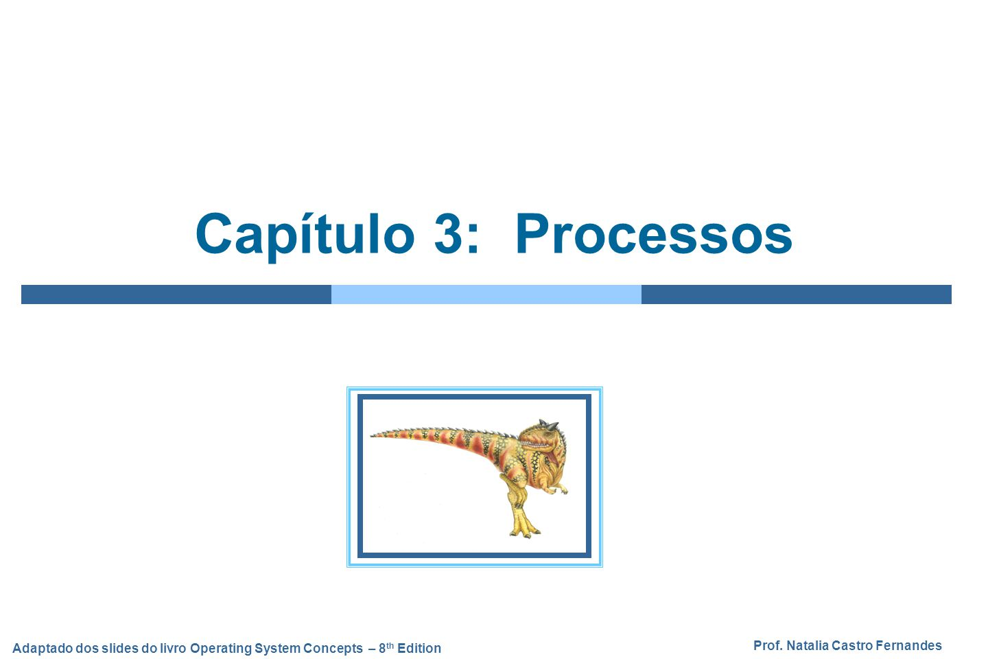 Prof. Natalia Castro Fernandes Adaptado dos slides do livro Operating System Concepts – 8 th Edition Capítulo 3: Processos
