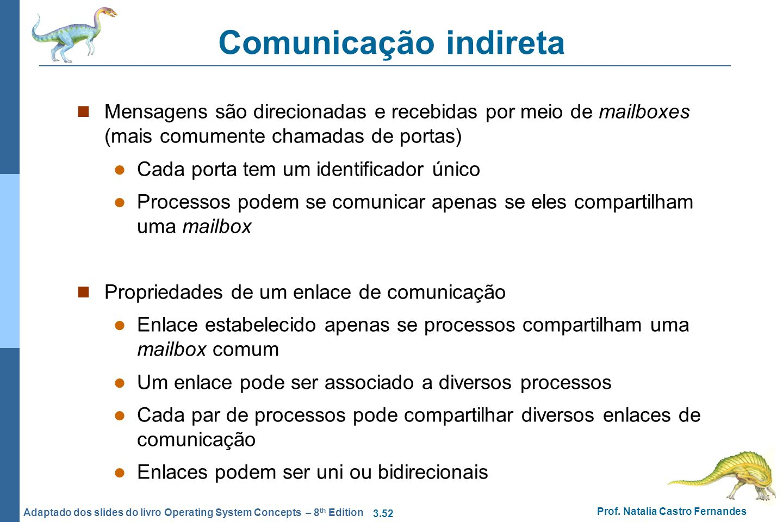 3.52 Prof. Natalia Castro Fernandes Adaptado dos slides do livro Operating System Concepts – 8 th Edition Comunicação indireta Mensagens são direciona