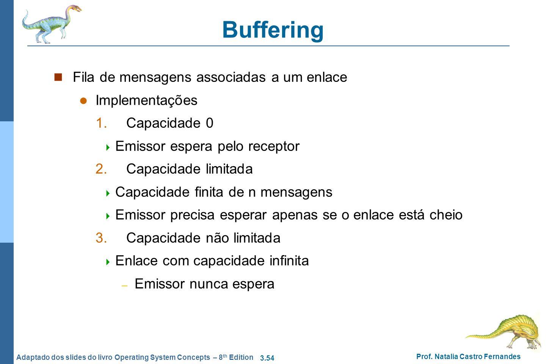 3.54 Prof. Natalia Castro Fernandes Adaptado dos slides do livro Operating System Concepts – 8 th Edition Buffering Fila de mensagens associadas a um