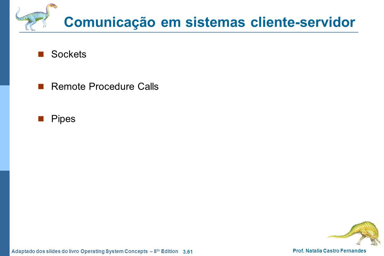 3.61 Prof. Natalia Castro Fernandes Adaptado dos slides do livro Operating System Concepts – 8 th Edition Comunicação em sistemas cliente-servidor Soc