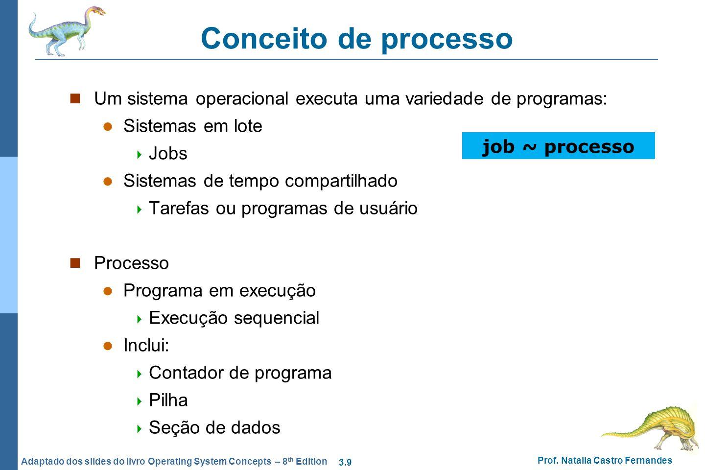 3.9 Prof. Natalia Castro Fernandes Adaptado dos slides do livro Operating System Concepts – 8 th Edition Conceito de processo Um sistema operacional e