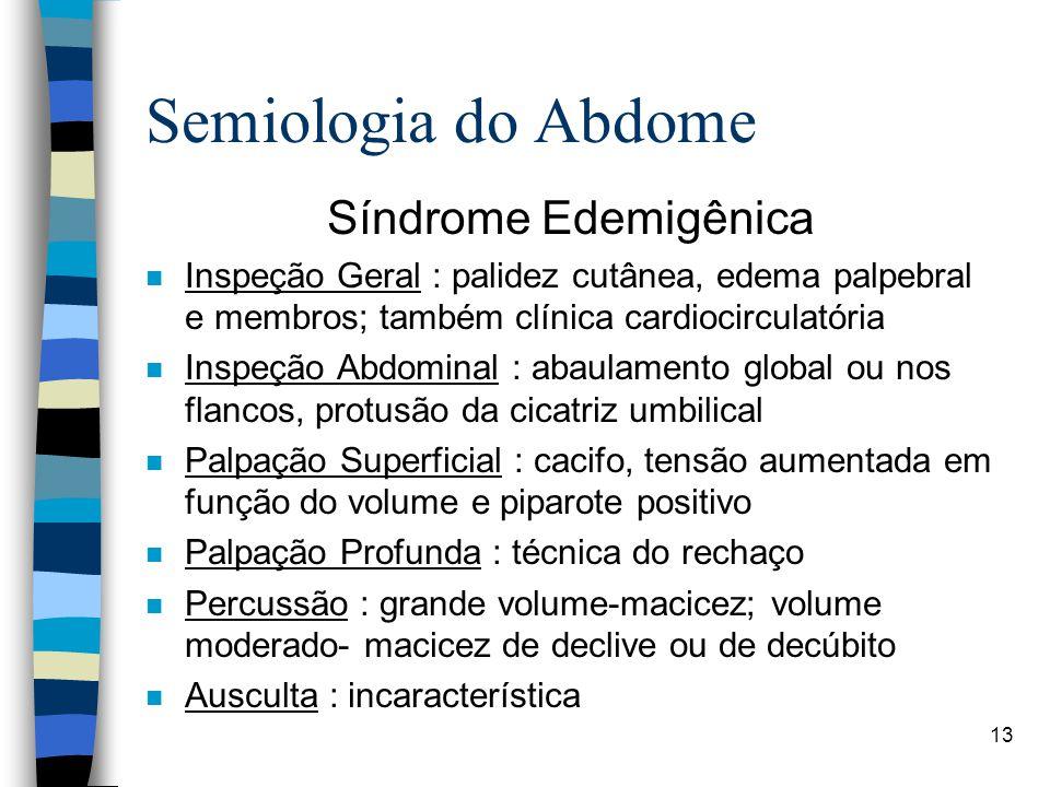 13 Semiologia do Abdome Síndrome Edemigênica n Inspeção Geral : palidez cutânea, edema palpebral e membros; também clínica cardiocirculatória n Inspeç